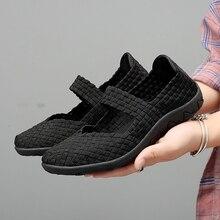 Damskie mieszkania buty Slip On moda tkane trampki na co dzień oddychające letnie Tenis ComfortWomen buty spacerowe kobiet Zapatos De Mujer