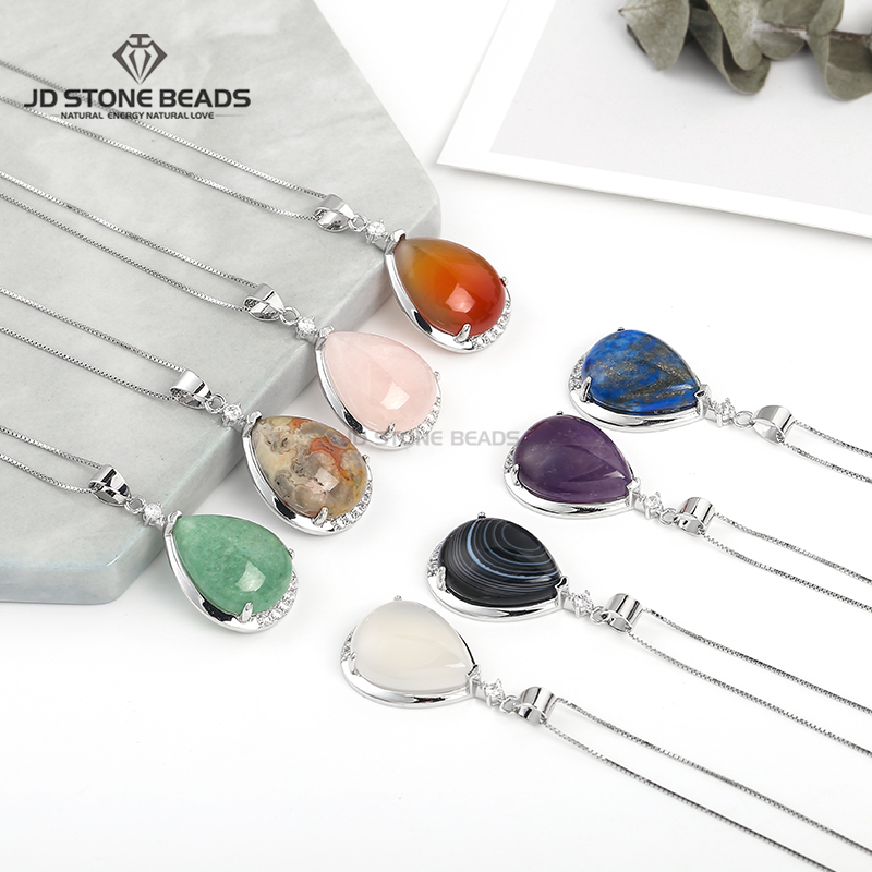 925 Sterling Silver Necklaces Natural Stone Pendant  Jewelry For Women Fashion Lady Festival Gifts Free Shipping