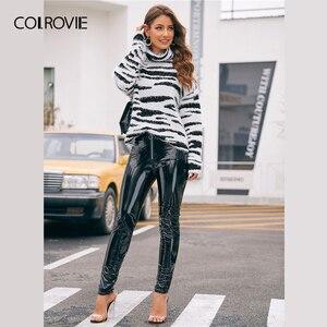 Image 5 - COLROVIE גבוהה צוואר פלאפי לסרוג זברה דפוס סוודר נשים 2019 חורף זוהר סוודרים ארוך שרוול גבוה רחוב סוודרים