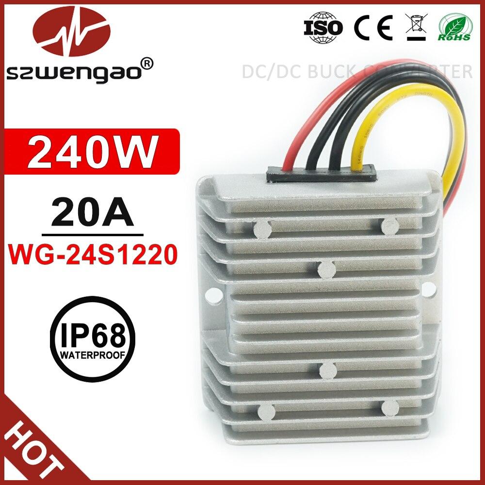 Szwengao 36V 48V to 12V 20A Step Down DC DC Converter Regulator 240W DC Pow L3H8
