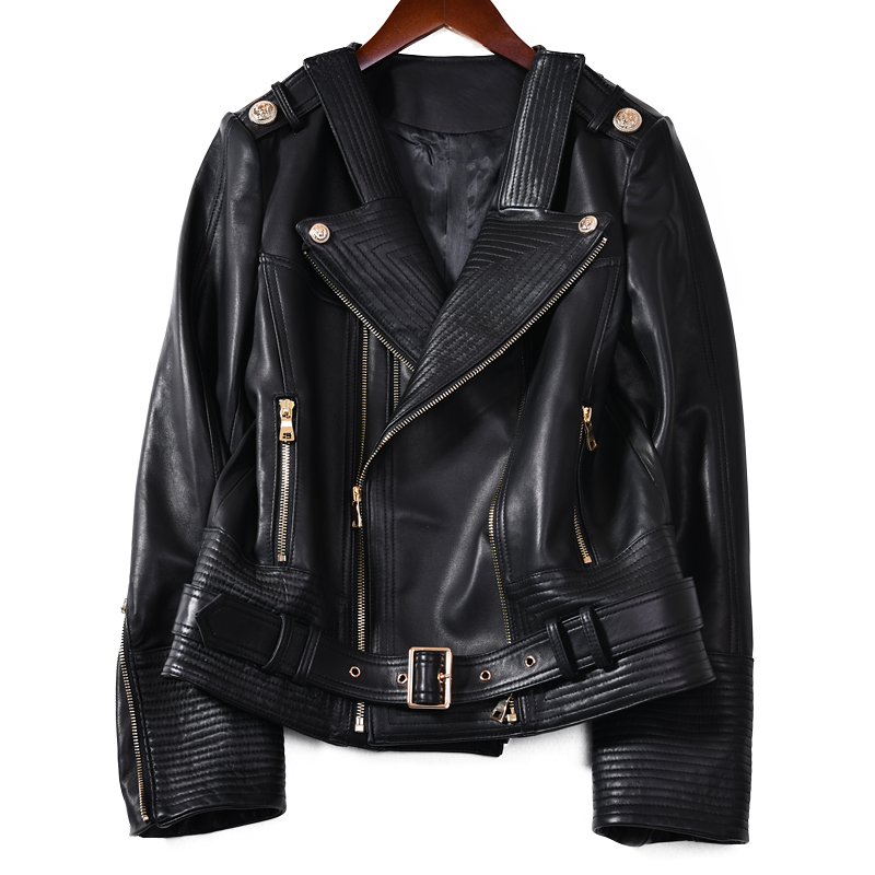 Womens Leather Jacket Belt Sheepskin Jacket Short Lambskin Black Female Genuine Leather Overcoat Ladies Biker Clothing