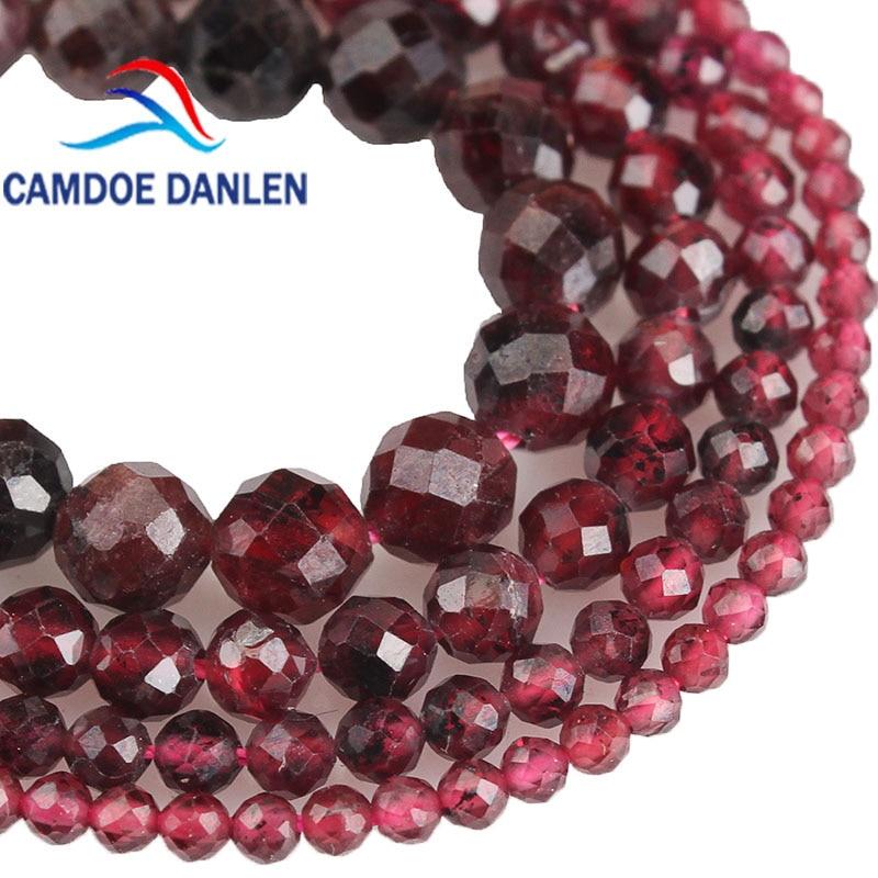 Bracelet élastique en grenat naturel rouge pierre véritable perles 4 mm