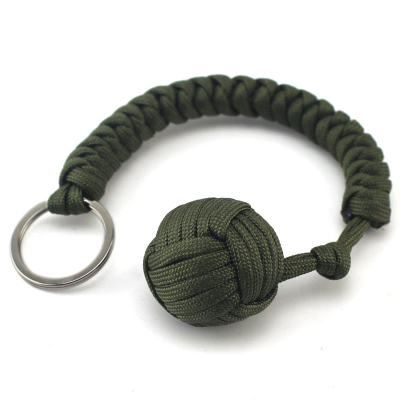 New Outdoor Self-defense Field Emergency Survival Kit Key Rings Seven-core Umbrella Hand-woven Keychain With Steel Ball