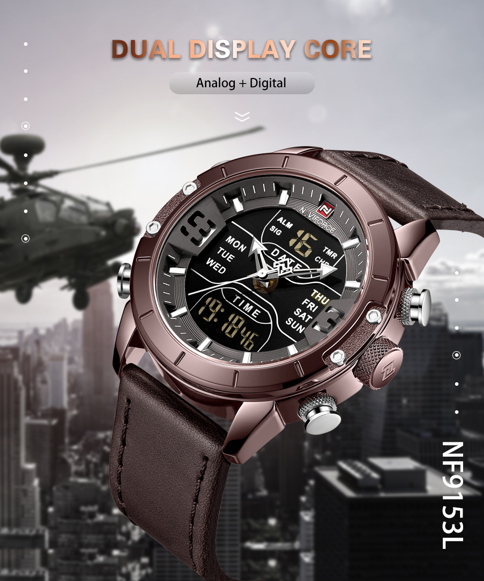 NAVIFORCE Mens Watches Top Brand Luxury Army Military Leather Mens Wristwatch Waterproof Digital Quartz Sports Watches Relogio (1)