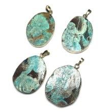New Oval Natural Gem Stone Pendant Necklace Leather Chain Men Jewelry Quartz Reiki Healing Chakra 25x40-30x40mm