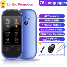 "Boeleo W1 Pro AI Голосовая фотография офлайн переводчик 3,0 ""LCD/IPS 4G WIFI 8 Гб Память 1780 мАч 76 языков путешествия бизнес перевод"