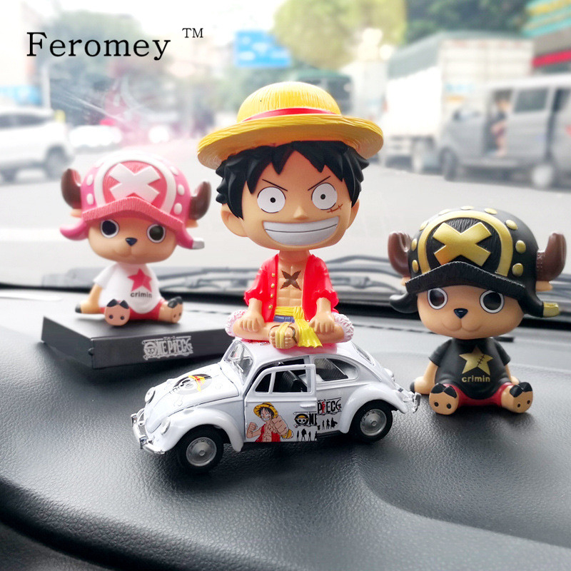 Japan Anime <font><b>One</b></font> <font><b>Piece</b></font> <font><b>Luffy</b></font> Zoro Chopper Sanji Action Figures Doll Car Bobble Head Doll Toy Birthday Gift 12cm image