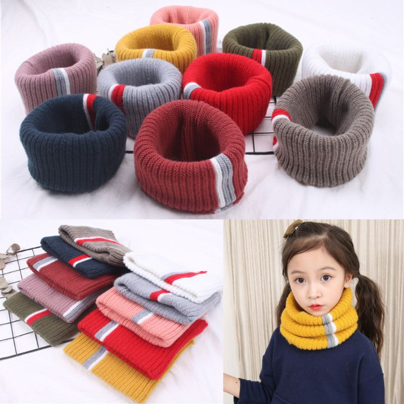 Girls Boys Knitted Scarf Stripe O-Ring Snood Neck Gaiter Neckerchief For Kids Children