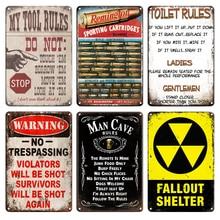Refugio de lluvia Vintage precaución BIOHAZARD Metal estaño Plat signo Retro herramienta familiar TOOL TOILET rules puerta signos Sala hogar Decoración