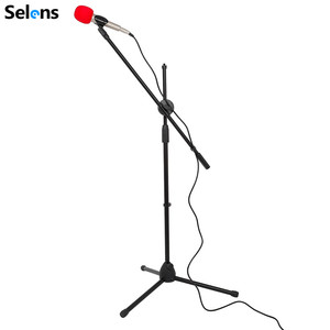 Image 3 - Selens Swing Boom Floor Metal Stand Adjustable Stage Microphone Stand Tripod Microphone Holder For Live Streaming Vlog