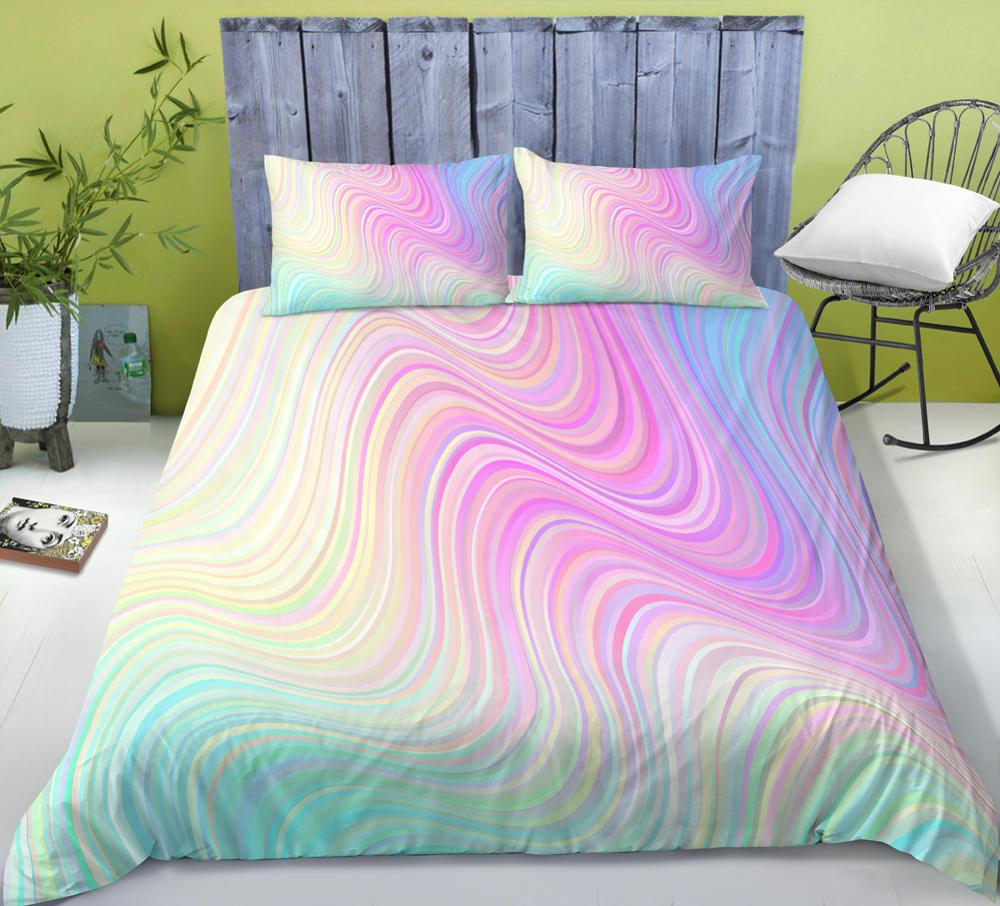 3D Modern Pattern Bedding Set Duvet Cover Pastel Rainbow Marble Printed Comforter Cover <font><b>3</b></font> Pieces Bed Sets with Pillow Shame image