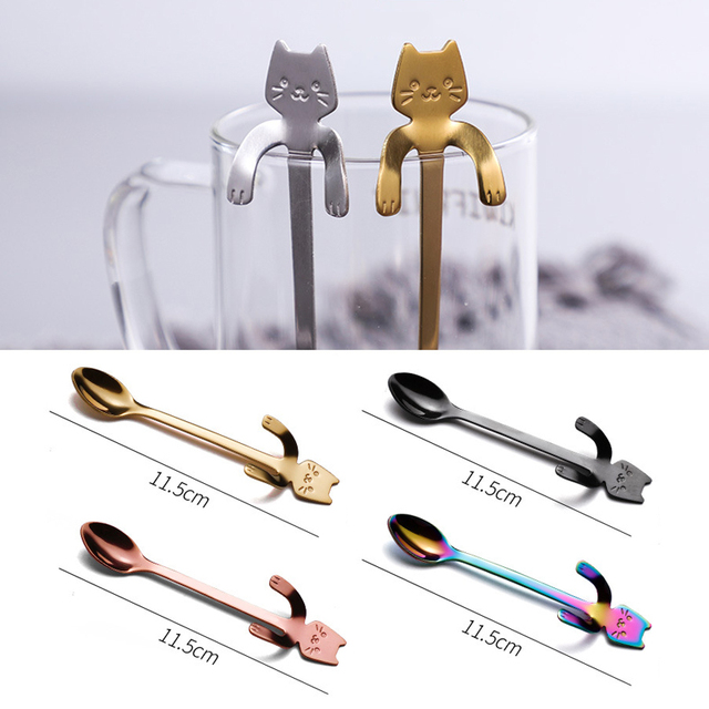 Stainless steel cat coffee spoon 6