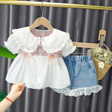 Baby Girl Clothes Shorts Dress 1 2 3 4 Years Lace Princess Fashion Sweet Summer Plaid Bow Shirt Cotton Birthday Puff Sleeve