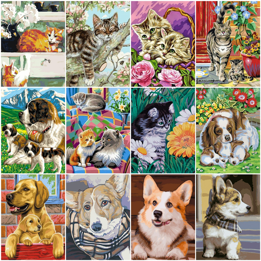 HUACAN Paint By Number Cat Animal Drawing On Canvas HandPainted Painting Art Gift DIY Coloring By Number Dog Kits Home Decor