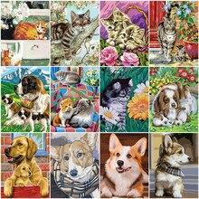 HUACAN boya kedi hayvan çizim tuval HandPainted boyama sanat hediye DIY boyama By numarası köpek kitleri ev dekor