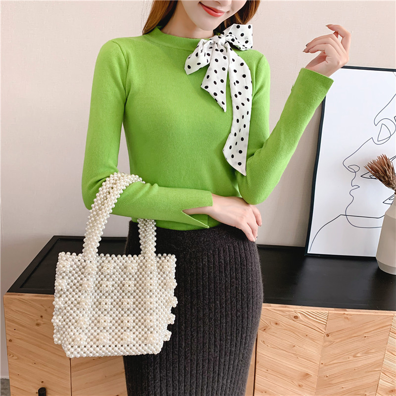 Women Knit Sweater Pullover Autumn Winter Clothes New Leopard Bow Tie Slim Pull Knitwear Sweater Jumper Long Sleeve Female Tops 4