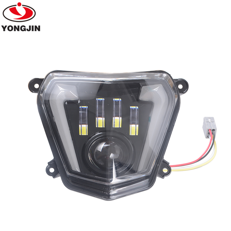 Moto LED Headlight High/Low Beam With Angel Eyes DRL Assembly Kit And Replacement Headlight For KTM Duke 690 After 2011