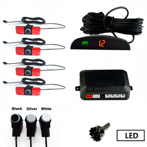 Image 2 - SINOVCLE Auto Parkplatz Sensor Set LED/LCD/Summer 4 Flache Umgekehrte Anzeige Parkplatz Sensor Kit 16mm 12V Backup Radar Monitor System
