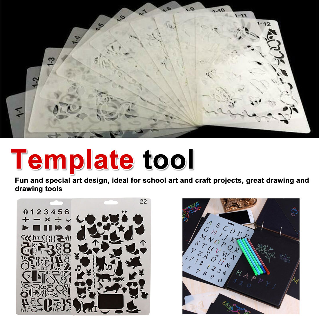 Hand Drawing Stencil Tools Toys DIY Photo Album Novelty Educational Children Various Styles Art Supplies