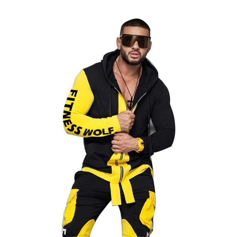 2019 New European And American Sports Casual Suit For Men Monochromatic Pants Hooded Zipper Jacket Mextonmen Autumn/winter Style