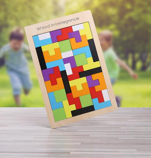 New High Quality Wooden Tangram Jigsaw Brain Tetris Game Puzzle Bloacks Preschool Children Play Training Educational Toys ZXH