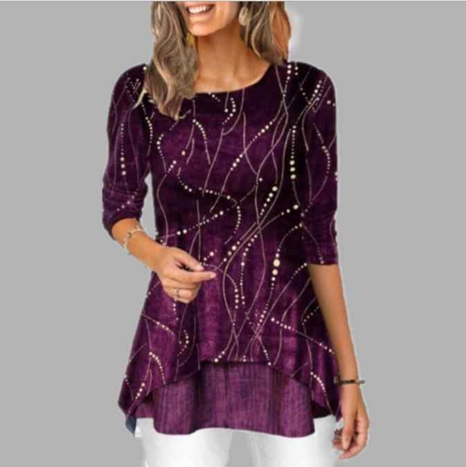 חולצה נשים 2020 אביב קיץ חולצה 3/4 שרוול מקרית הדפסה חריגה נשי אופנה חולצה חולצות בתוספת גודל StreetShirt