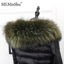 السيدة MinShu كبير الفراء طوق فرو الراكون الفراء هود تقليم وشاح أسود اللون معطف بركة (سترة من الفراء بقبعة للقطب الشمالي) الفراء طوق وشاح مخصص