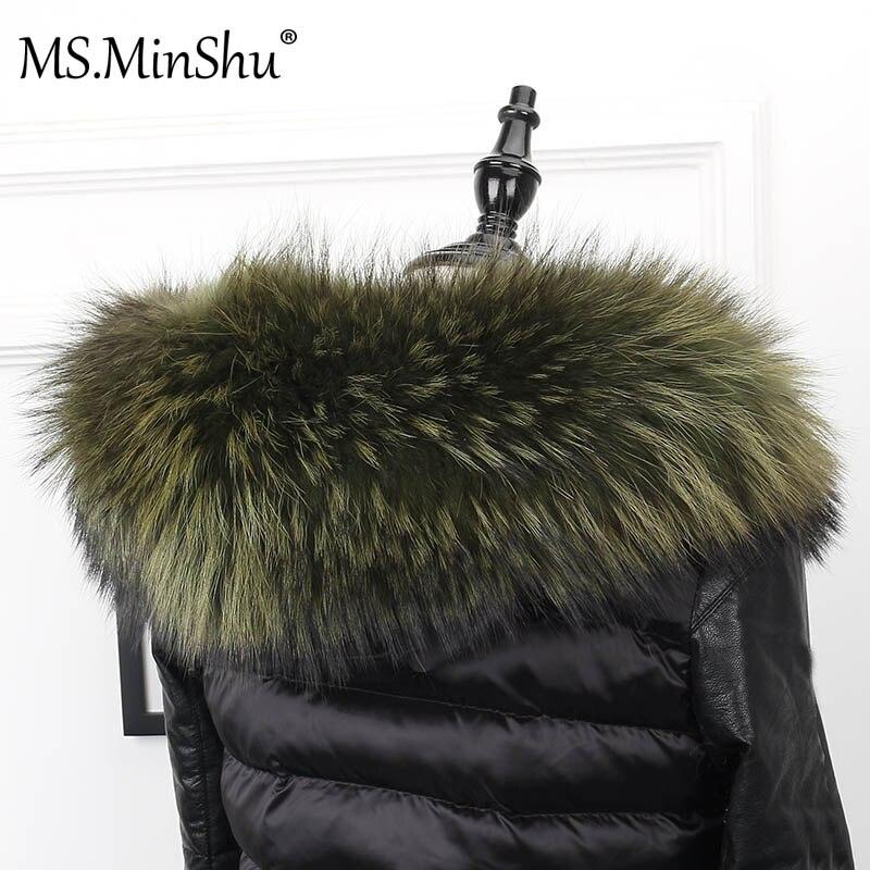 Ms. minshu gola de pele grande genuína pele de guaxinim capa guarnição cachecol cor preta parka casaco de pele cachecol feito sob encomenda