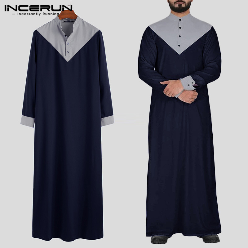 INCERUN Arabic Islamic Kaftan Muslim Men Stand Collar Patchwork Jubba Thobe Long Sleeve Retro Men Indian Clothes Robes Plus Size