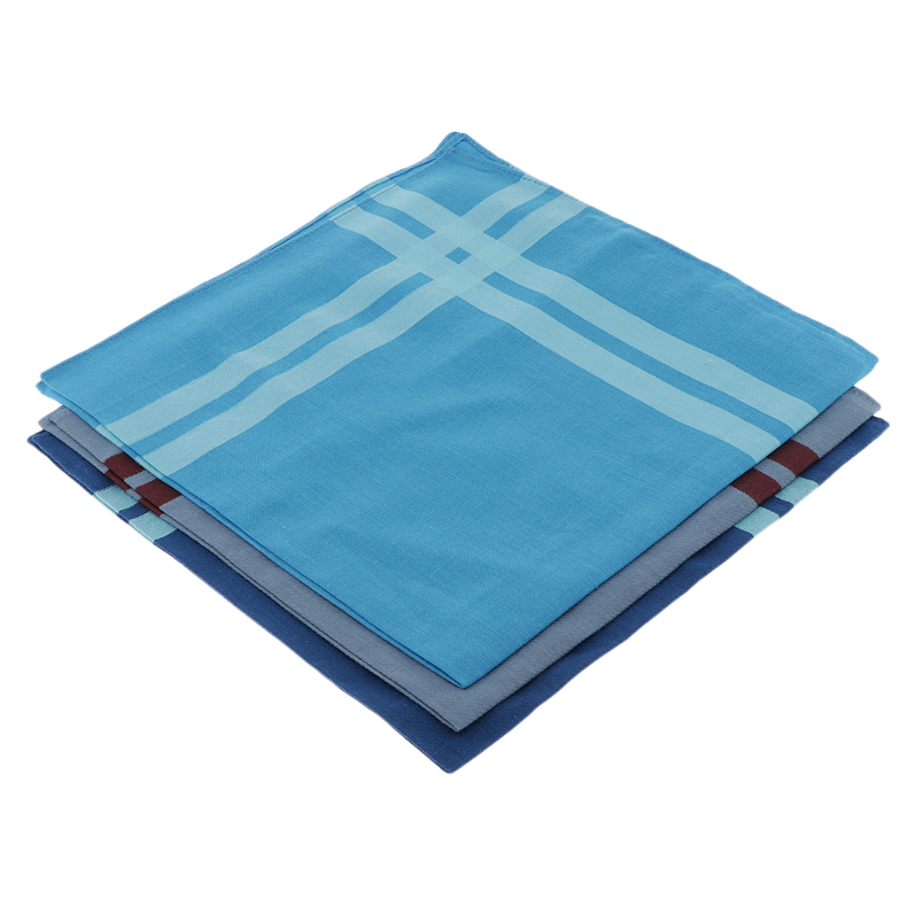 3pcs Cotton Handkerchiefs Small Plaid Single Handkerchiefs - 43 X 43 Cm