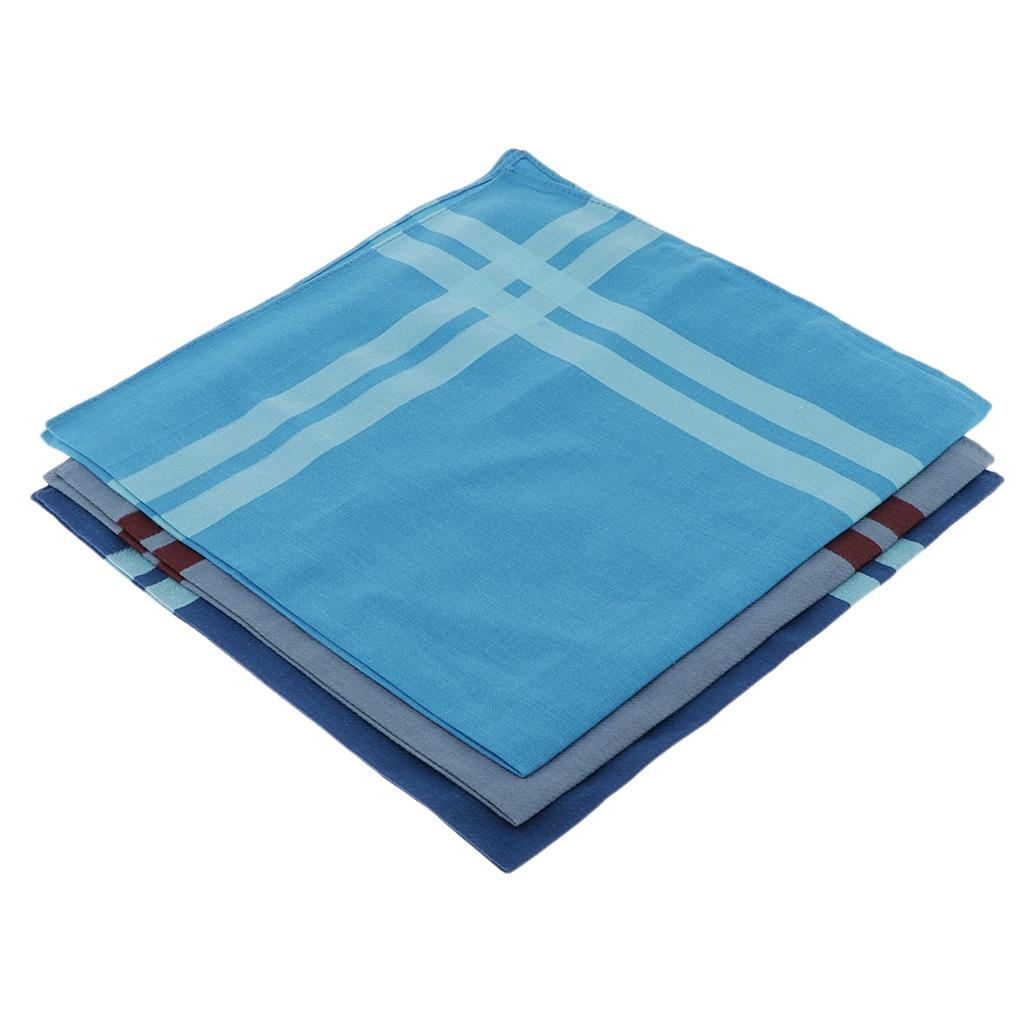 3pcs Cotton Handkerchiefs Small Plaid Single Handkerchiefs - 43 X 43 Cm