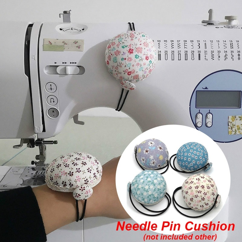 We-buys Floral Hemisphere Pin Cushion Wood Base Needle Sewing Accessory Random Color 1PC