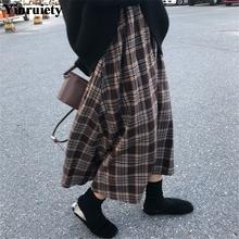 Nowy japoński Harajuku jesień zima kobiety spódnica trzy czwarte wysoka talia Plaid kobiet Saias koreański Ulzzang Streetwear eleganckie długie spódnice tanie tanio Yinruiety spandex Lanon -Line NONE Naturalne Japan style Połowy łydki