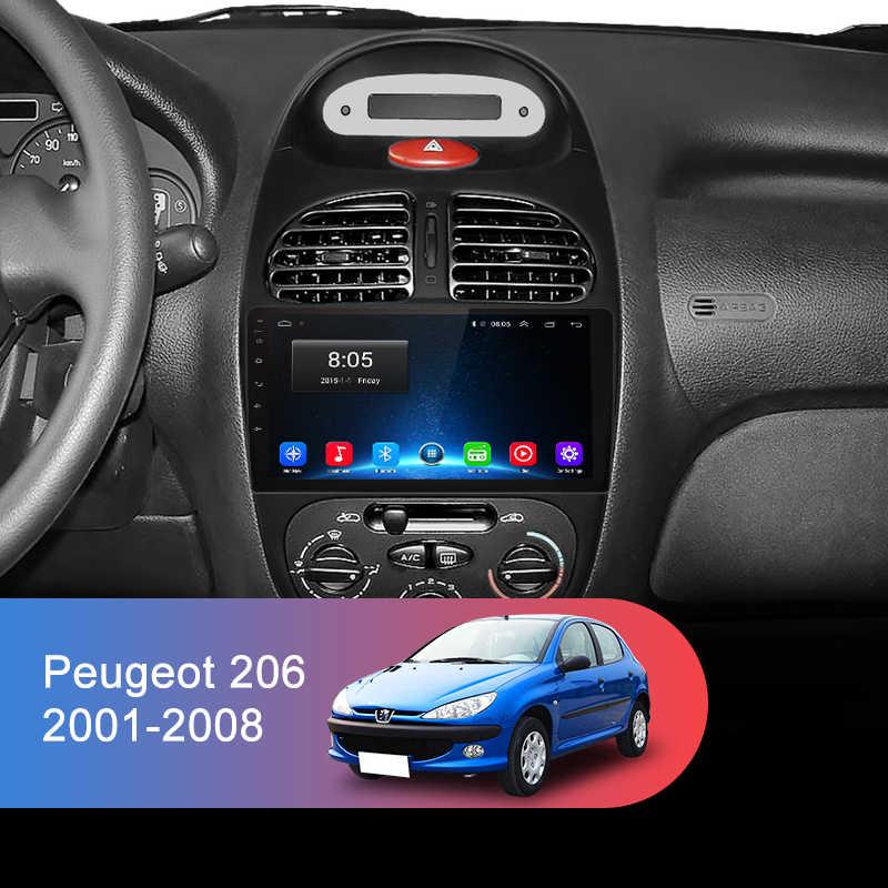 Junsun 4G + 64G Android 9,0 para Peugeot 206 Peugeot 2001 - 2008 Auto 2 din Auto Radio estéreo reproductor Bluetooth navegación GPS No 2din dvd