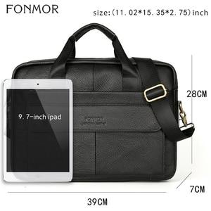 Image 2 - Fonmor Genuine Leather Handbags Men Briefcase Business Computer Crossbody Bag Messenger Shoulder Bags Male Laptop Tote Portfolio