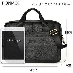 Image 2 - Портфель Fonmor мужской из натуральной кожи, сумка мессенджер через плечо для работы с компьютером, сумка тоут для ноутбука