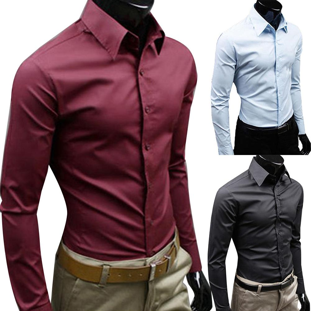 New Business Men Casual Solid Color Long Sleeve Button Down Slim Thin Cotton Plus Size Shirt