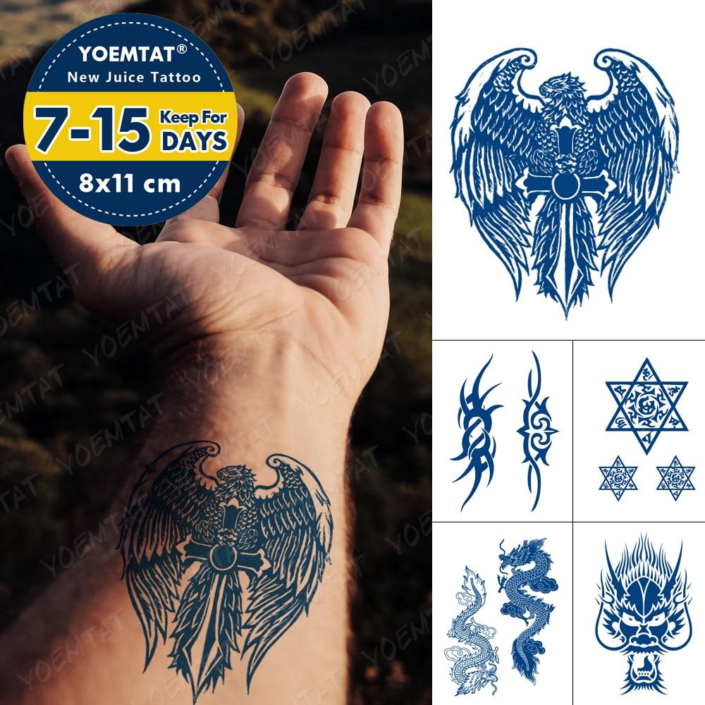Juice Lasting Waterproof Temporary Tattoo Sticker Eagle Wing Arrow Cross Totem Flash Tattoos Male Arm Body Art Fake Tatto Female