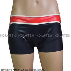 Zwart Met Wit En Rood Versieringen Sexy Latex Boxershorts Rubber Boy Shorts Onderbroek Ondergoed Broek DK-0104