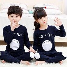 Cotton Baby Pajamas Children Totoro Pajama Sets Long-sleeved+Pant Pyjamas Kids Sleepwear Big Boy Girl Nightwear Teenages Clothes