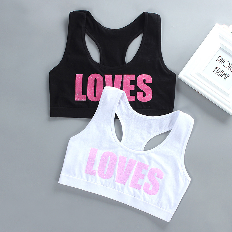 Girl Racerback Cotton Sport Training Bra Letter Print Solid Color Wide Strap Underwear Bralette Seamless Layered Crop Top
