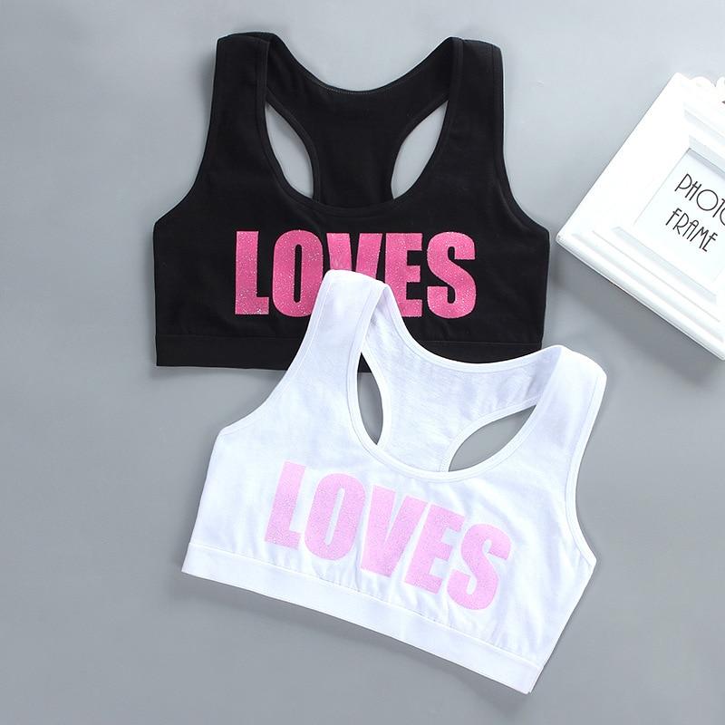 Girl Racerback Cotton Sport Training Bra Letter Print Solid Color Wide Strap Underwear Bralette Seamless Layered Crop Top