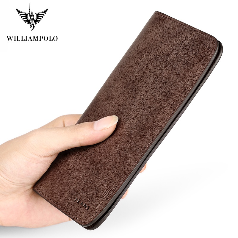 WilliamPolo Full-Grain Leather Long Wallet For Men Ultra-thin Vintage Credit Card Holder Coin Purses Business Clutch Cowhide