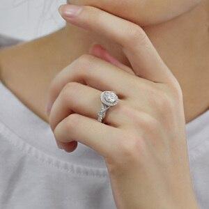 Image 5 - Transgems 14 k 585 branco ouro centro 2ct 7*9mm forma oval f incolor anel de noivado para a faixa feminina com milgrain