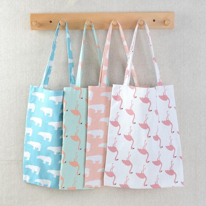 Vogvigo Women Casual Reusable Shopping Bag Animal Print Shopping Tote Beach Handbag Cotton Linen Eco High Capacity Grocery Bags
