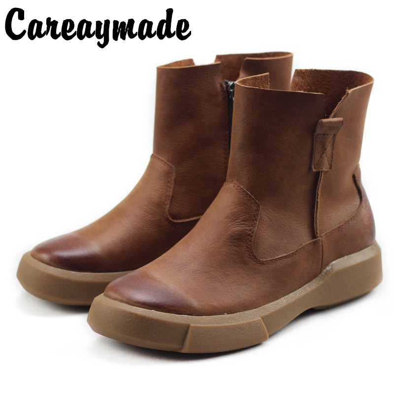 Careaymade-Autumn and Winter New Head Cowhide Handsome British Shoes Side Zipper True Retro Leisure Womens Boots Handmade