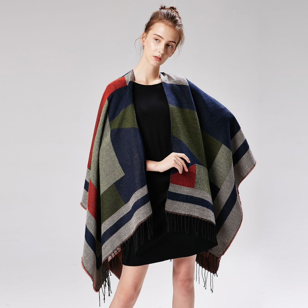 Luxury Brand Designer Ponchos 2019 New Cashmere   Scarves   Women Winter Warm Shawls and   Wraps   Pashmina Thick Capes Femme   Scarf