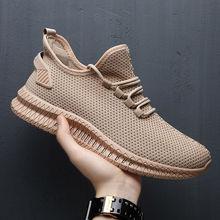 Men Sneakers Black Mesh Breathable Running Sport Shoes Male Lace Up Non-slip Men