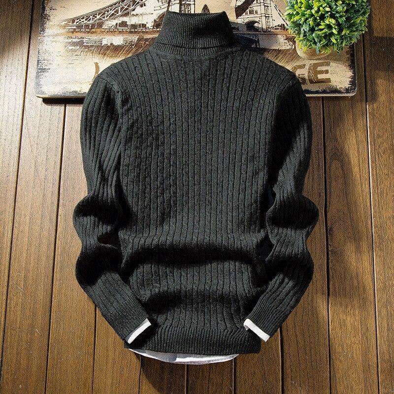 2019 Fashion Black Turtleneck Pullover Sweaters Men Mens Sweater Autumn Winter Warm Slim Fit Men Trend Sweater Men Sweater