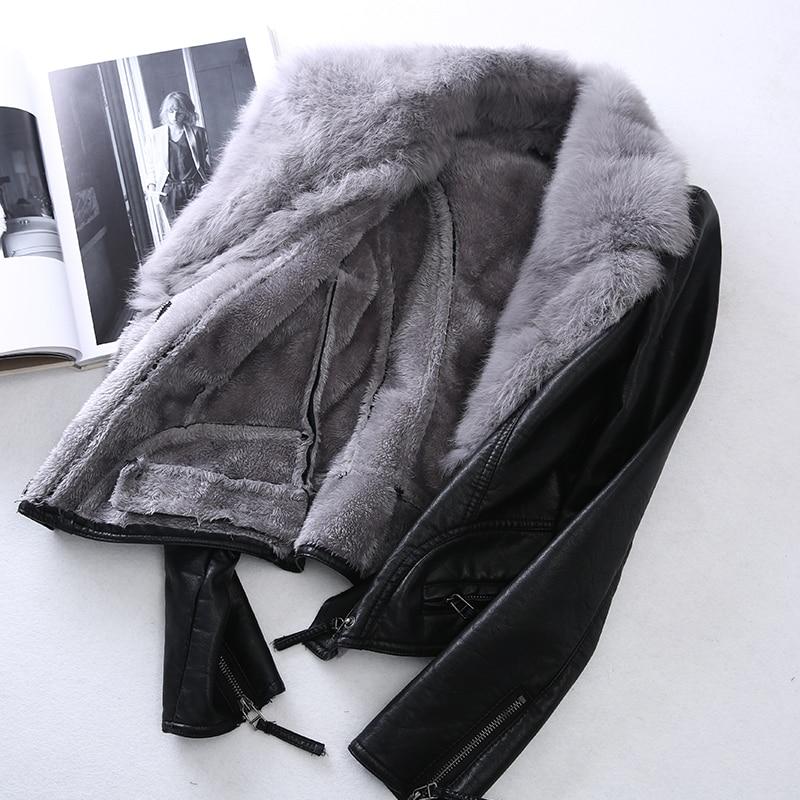 KMETRAM Winter Jacket Women Streetwear Faux Leather Jacket Women Coat Real Rabbit Fur Collar Warm Parka Bomber Jackets MY4929